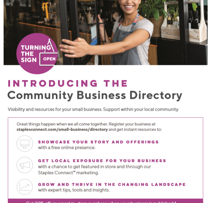 STAPLES INTRODUCES NEW COMMUNITY BUSINESS DIRECTORY!